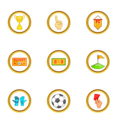 Football tournament icons set cartoon style vector