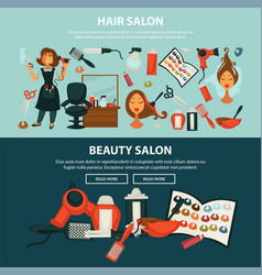 Hairdresser beauty salon flat web banners vector