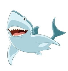 Happy cartoon shark vector