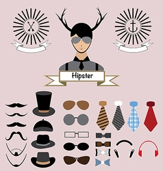 Hipster character elements design vector