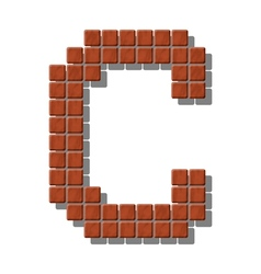 Letter c made from realistic stone tiles vector