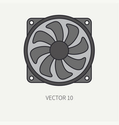 Line flat color computer part icon cooling vector