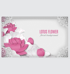 oriental frame with pink lotus pattern background vector image vector image