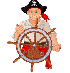 Pirate at the wheel vector