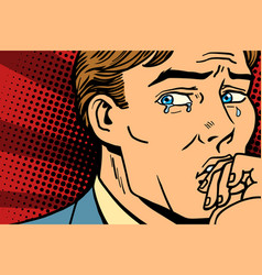 pop art man crying in depression vector image vector image