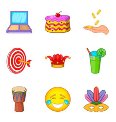 Professional trickster icons set cartoon style vector