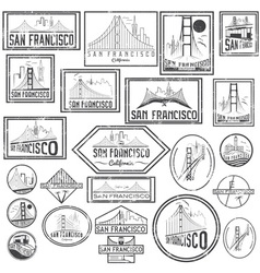 Set grunge badges with san francisco skyline vector