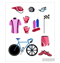 Set of track cycling equipment on white background vector