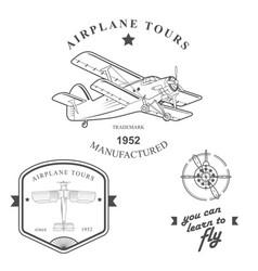 set of vintage airplane labels badges and design vector image vector image