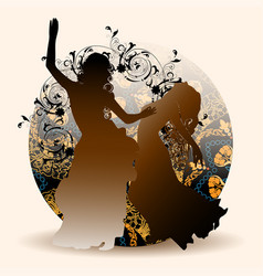 Silhouettes of oriental dance vector