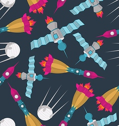 Space transport seamless pattern Spaceship rocket vector image vector image