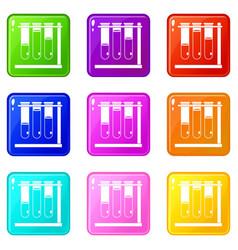Three beakers icons 9 set vector
