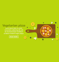 vegetarian pizza banner horizontal concept vector image