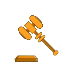 Judge gavel icon in cartoon style vector