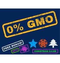 0 percent gmo rubber stamp vector