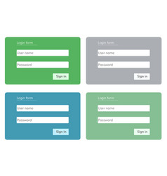 Log in form for web site vector