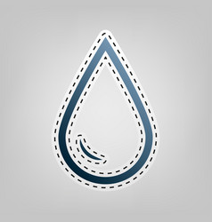 drop of water sign  blue icon with outline vector image