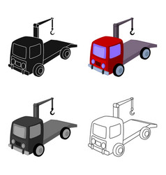 Tow truck icon in cartoon style isolated on white vector
