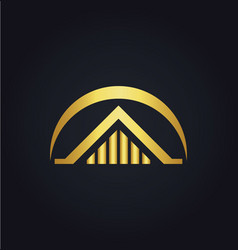House building gold logo vector