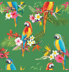 Tropical flowers and parrot seamless background vector