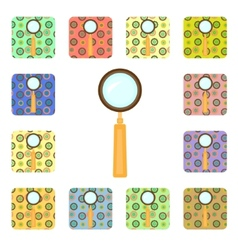 Set of magnifier icons vector