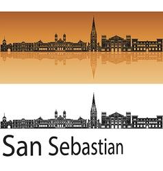 San Sebastian skyline in orange background in vector image