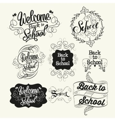 Back to school labels lettering and calligraphic vector