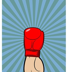 Hand in boxing glove winner boxing champion raised vector
