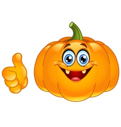 thumb up pumpkin vector image