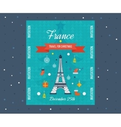 Travel to paris for christmas greeting card vector