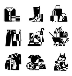 Clothing and accessories icons vector