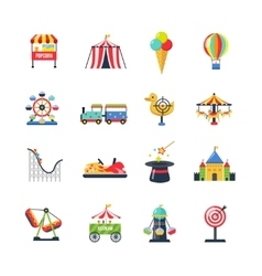 Flat color isolated amusement park icons vector