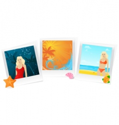 Summer photo memories collage vector