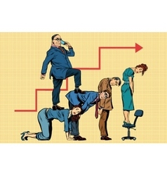 Boss business career on the backs of workers vector