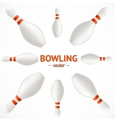Bowling pins set card or poster vector
