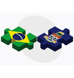 Brazil and cayman islands flags vector