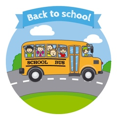 Children in a school bus vector image