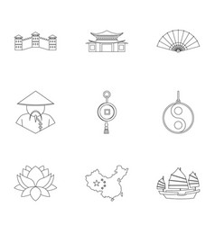 Chinese icon set outline style vector