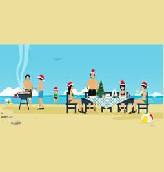 christmas beach vector image