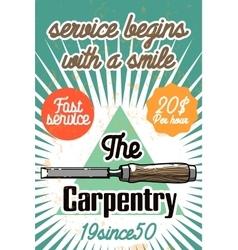 Color vintage carpenter poster vector