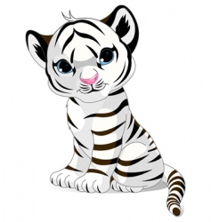 cute white tiger cub vector image vector image