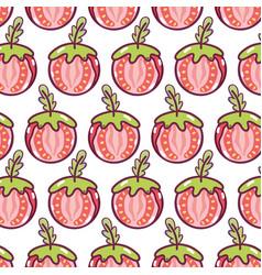 Delicious tomato piece to healthy salad background vector