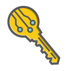 Electronic key colorful line icon security access vector