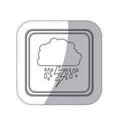 Emblem cloud rainning and ray icon vector