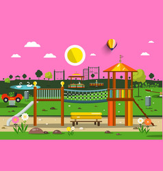 Empty park with playground sunset nature scene vector