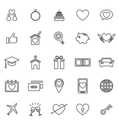 Family line icons on white background vector