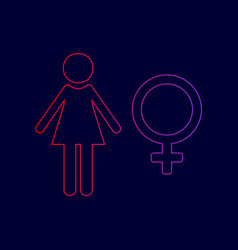 Female sign line icon with vector
