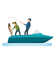 fishermen caught fish putting catfish in boat vector image