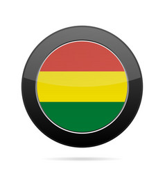 Flag of bolivia shiny black round button vector
