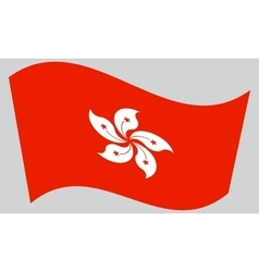 Flag of Hong Kong waving on gray background vector image